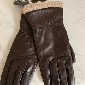 Dark brown shearling leather gloves